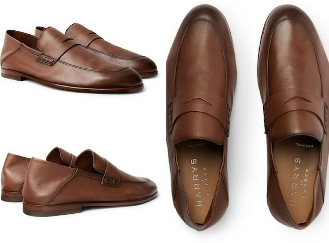HARRYS OF LONDON EDWARD COLLAPSIBLE-HEEL LEATHER PENNY LOAFERS