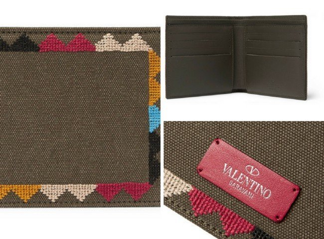 VALENTINO Embroidered Canvas Wallet