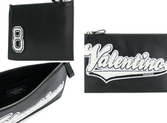 VALENTINO branded patch clutch