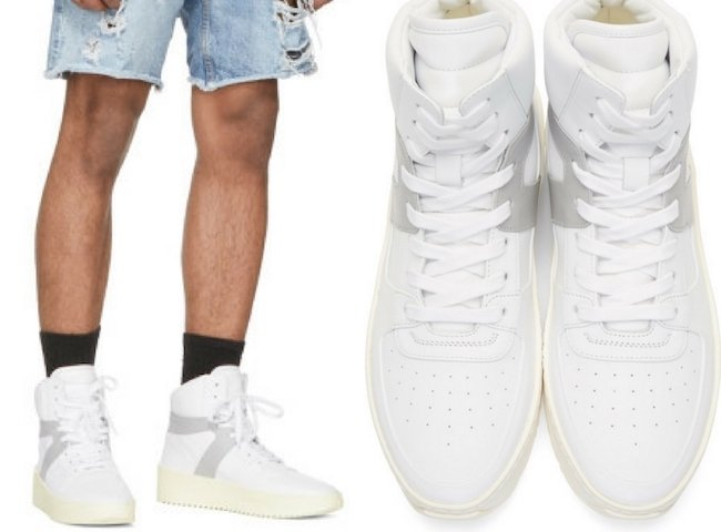 Fear of God White & Grey Basketball High-Top Sneakers
