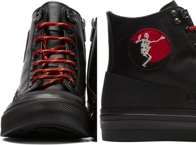 Alexander McQueen Black Leather Skeleton Patch High-Top Sneakers