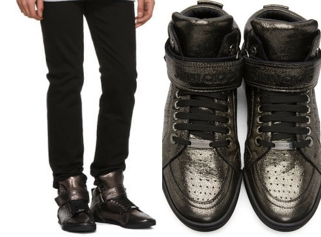 Jimmy Choo Gunmetal Metallic Lewis High-Top Sneakers