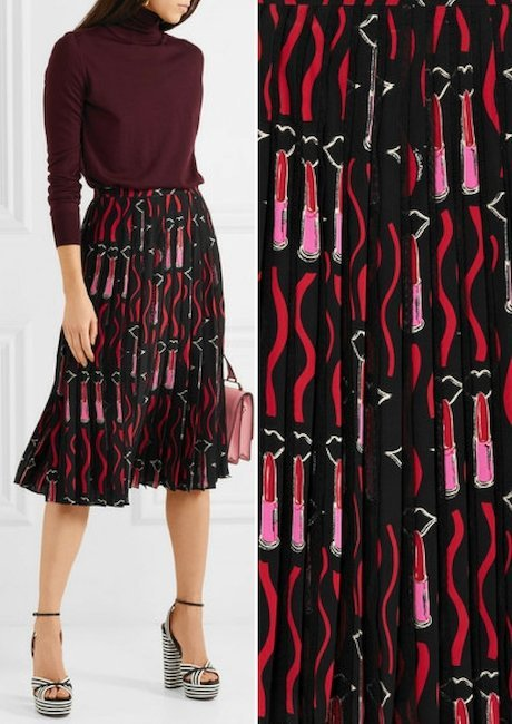 8fdea4f3a VALENTINO Lace-trimmed pleated printed silk crepe de chine skirt
