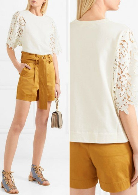SEE BY CHLOÉ Guipure lace-paneled cotton-jersey top