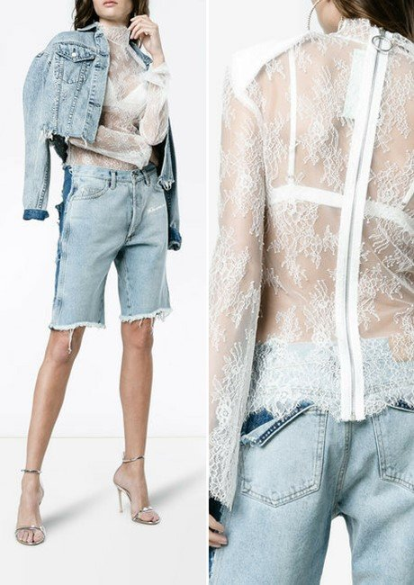 OFF-WHITE High neck lace top with shoulder pads