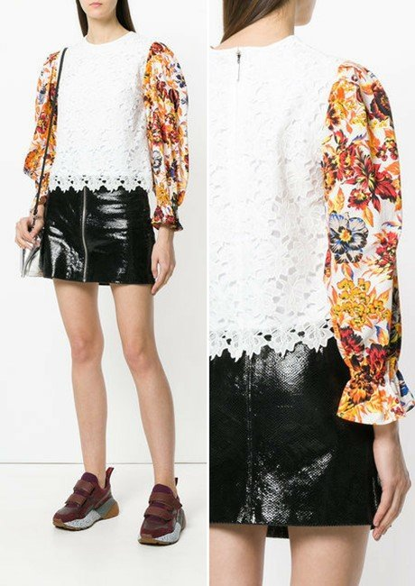 MSGM floral sleeve lace top
