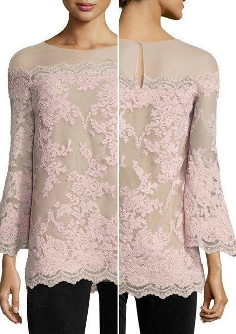 Marchesa Bell-Sleeve Corded Lace Illusion Top