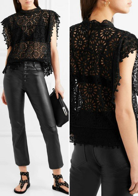 ISABEL MARANT Kery broderie anglaise cotton and lace top