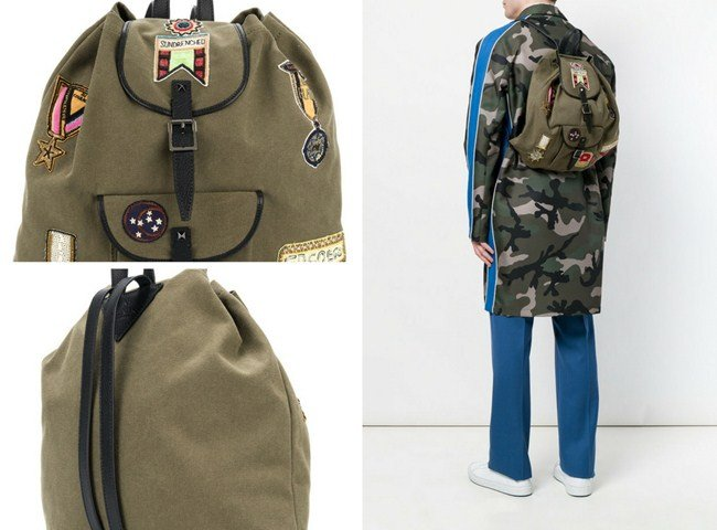 Valentino Garavani badge embroidered backpack