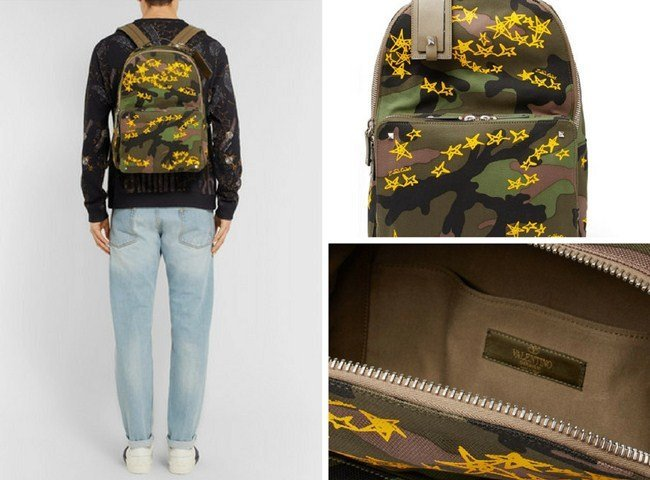 Valentino Zandra Rhodes Camouflage Canvas Backpack