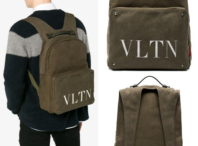 Valentino Olive Green VLTN Logo Backpack