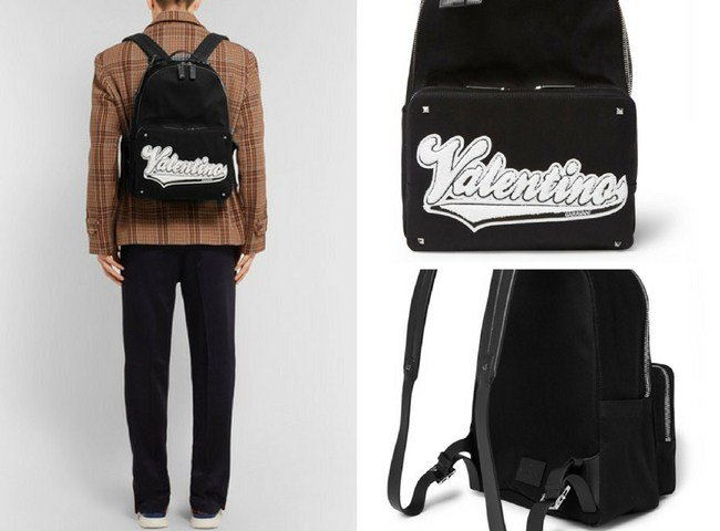 Valentino Rookie Leather-Trimmed Appliquéd Canvas Backpack