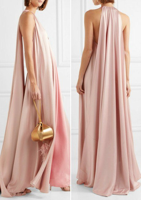 Valentino Two-tone hammered silk-satin gown