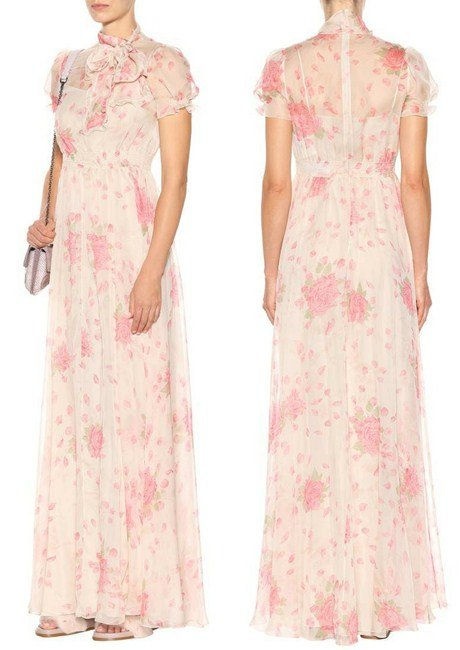 Valentino Floral-printed silk-chiffon gown