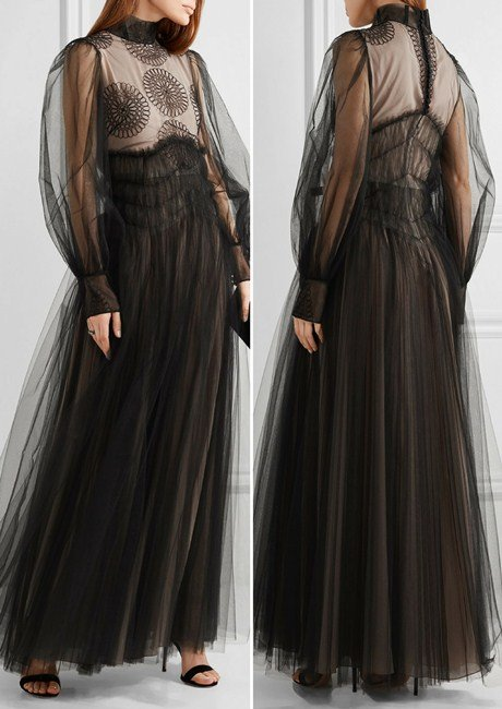 Valentino Appliquéd tulle gown