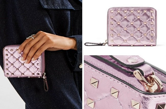 Valentino The Rockstud quilted metallic leather wallet