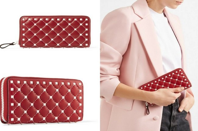 Valentino The Rockstud Spike quilted leather wallet (3)
