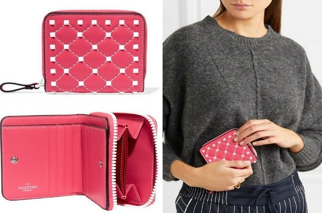 Valentino The Rockstud Spike quilted leather wallet