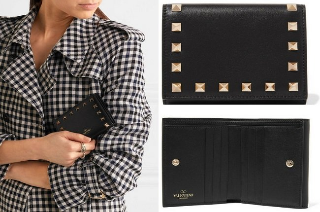 Valentino The Rockstud French leather wallet
