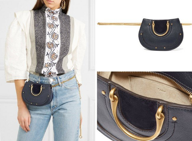 bd37b64cf4af CHLOÉ Pixie mini suede and textured-leather belt bag