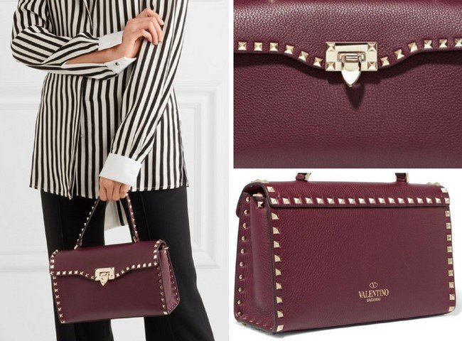 VALENTINO The Rockstud textured-leather tote