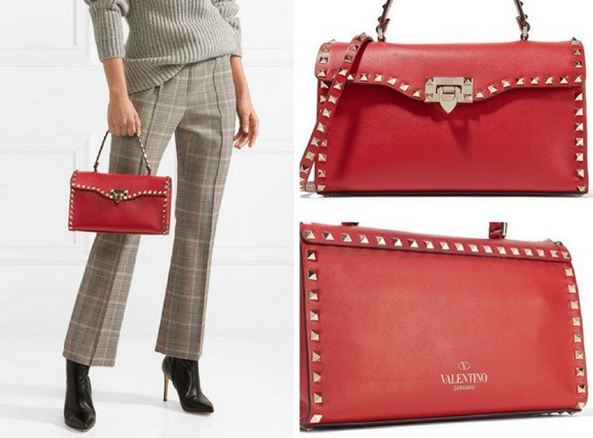VALENTINO The Rockstud leather tote 1