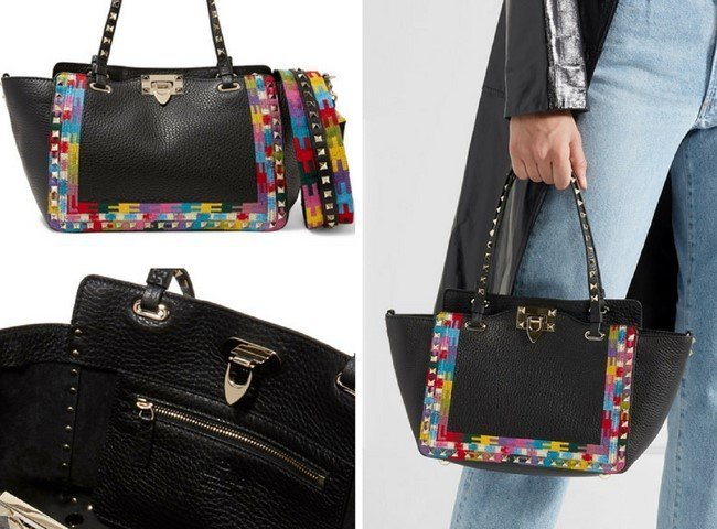 VALENTINO The Rockstud embroidered textured-leather trapeze bag