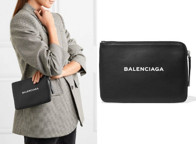 8. BALENCIAGA Printed Textured-leather Pouch