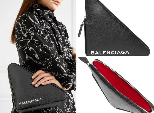 BALENCIAGA Printed textured-leather pouch