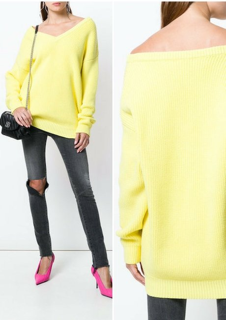 BALENCIAGA Long Sleeve V Neck Sweater