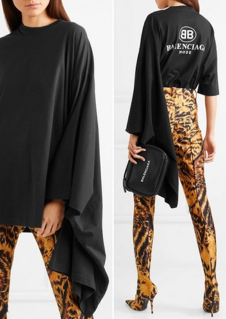 BALENCIAGA Oversized Printed Cotton-jersey Top