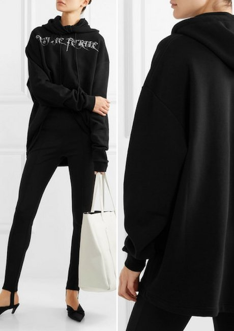 BALENCIAGA Femme Fatale Oversized Embroidered Stretch-jersey Hooded Top