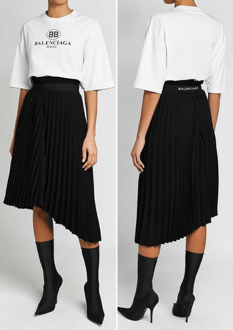 BALENCIAGA Asymmetric Pleated Skirt