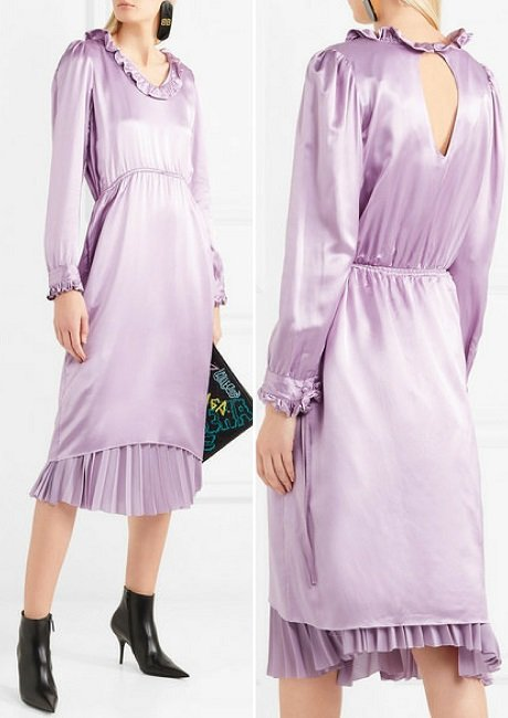 Balenciaga Hybrid ruffled silk-satin and pleated crepe de chine dress