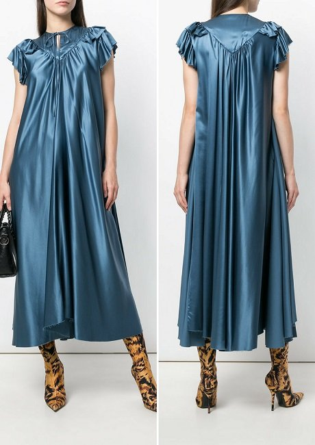 Balenciaga ruffle-trimmed silk dress