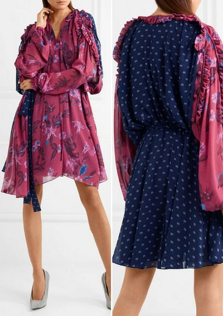 Balenciaga Flou ruffled printed georgette dress