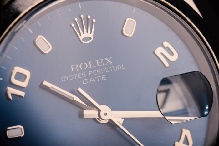 Rolex Oyster Perpetual Date watch close up shot. Taken in Bologna, Italy.