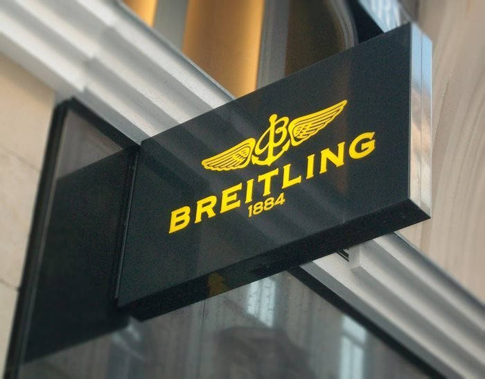 Breitling logo outside of a boutique in Vienna, Austria.