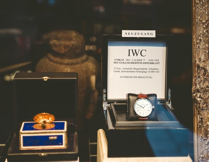 IWC Timepiece on display in a boutique. Baden, Germany.