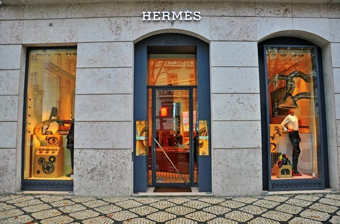 Hermes store in Lisbon district Bairro Alto, Portugal.