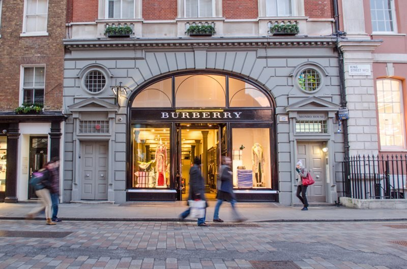 Exterior of the Burberry store in Covent Garden, London.