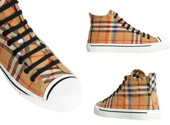 Burberry Rainbow Vintage Check High-top Sneakers