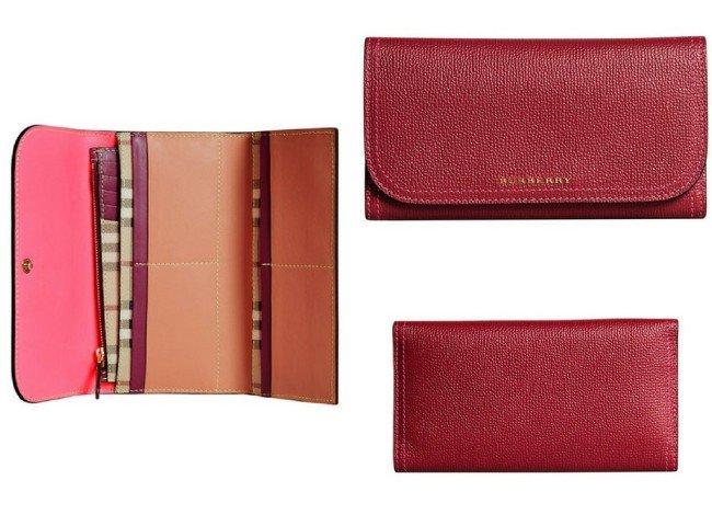BURBERRY colour block continental wallet
