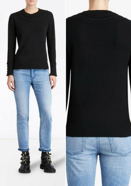 BURBERRY cashmere cable knit yoke sweater-2