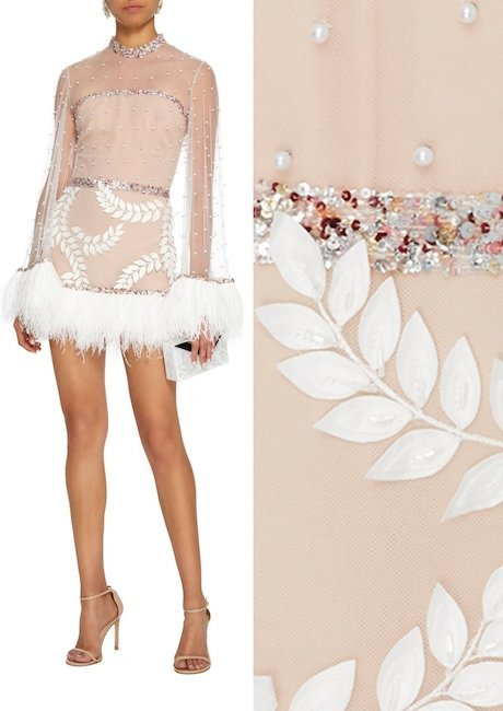 Sandra Mansour M'O Exclusive Embellished Tulle Mini Dress