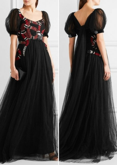 GUCCI Embellished embroidered tulle gown