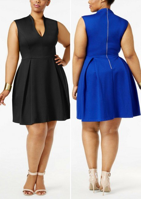 0382d5d890a Soprano Trendy Plus Size Pleated Fit   Flare Dress