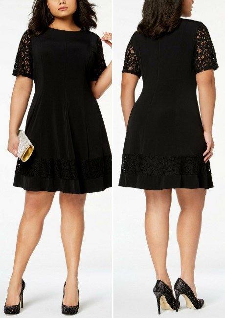 4a06c03ad27d Jessica Howard Plus Size Lace-Sleeve Fit & Flare Dress
