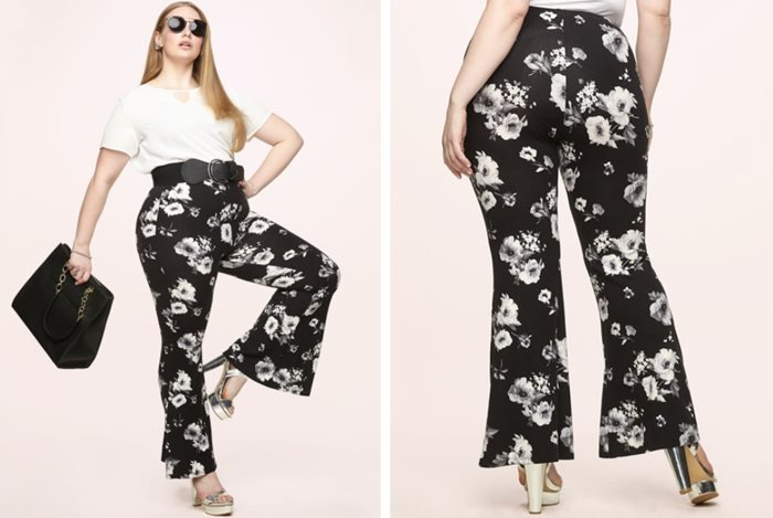 Black and White Floral Flared Pants