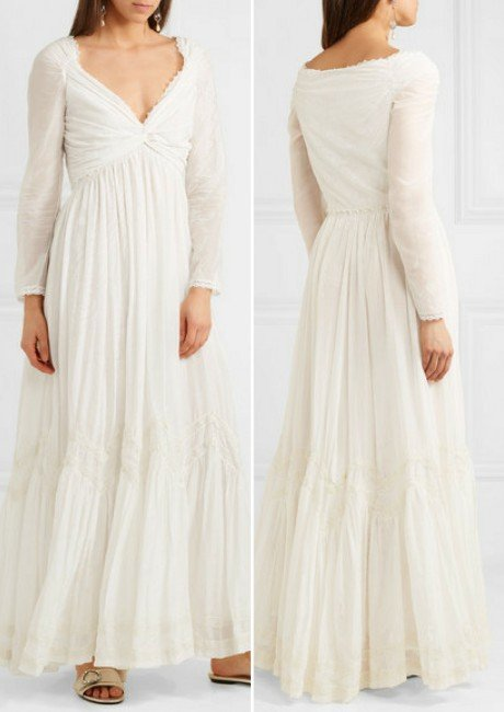 ETRO Lace-trimmed printed cotton and silk-blend gauze gown